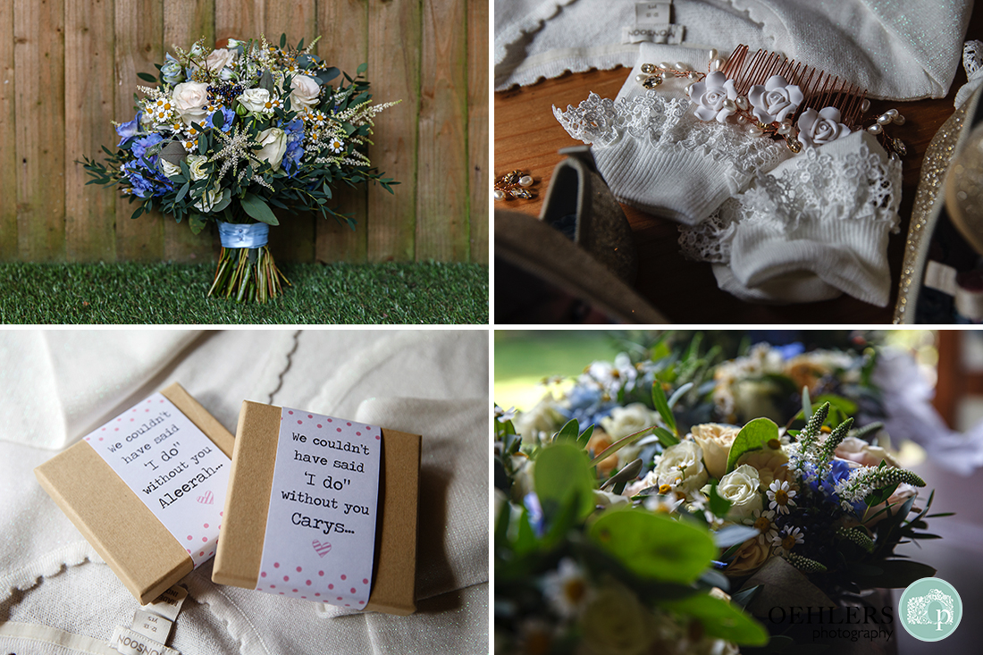 photographs of wedding flowers and other accessories