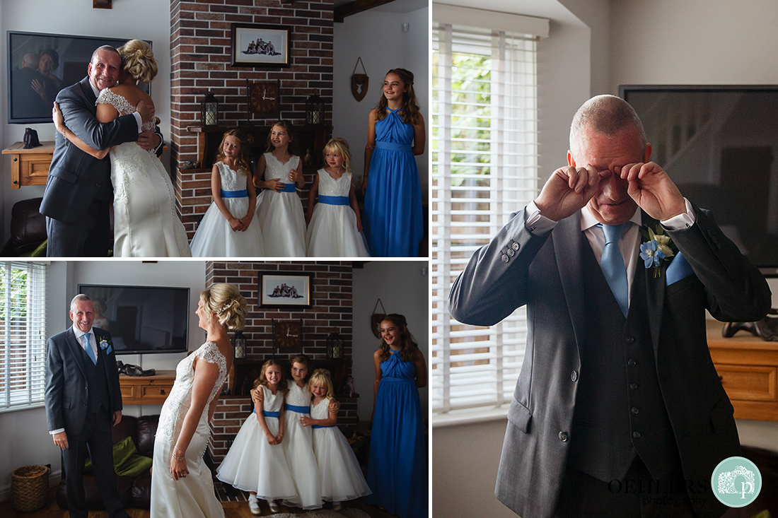 emotional reaction of the dad and bridemaids as the bride presents herself for the first time in front of them