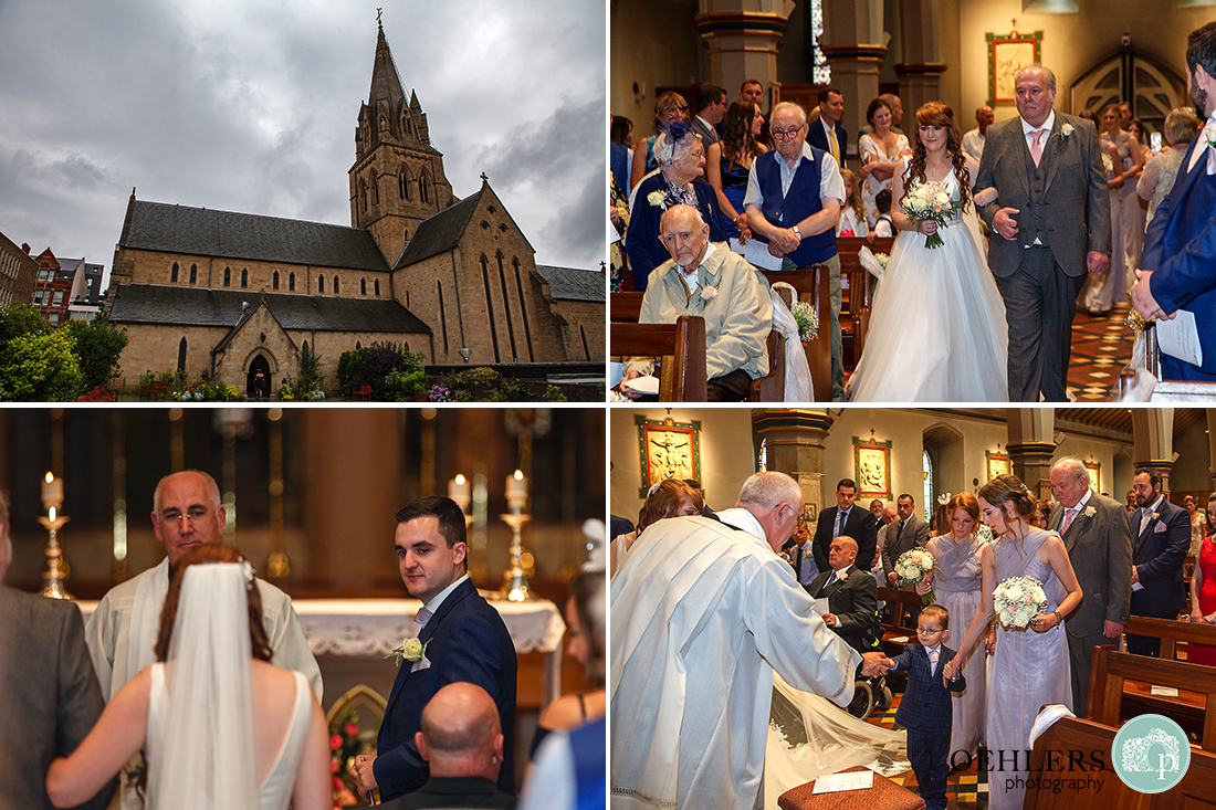A collage of photos as the bride walks down the aisle with groom looking back at her.