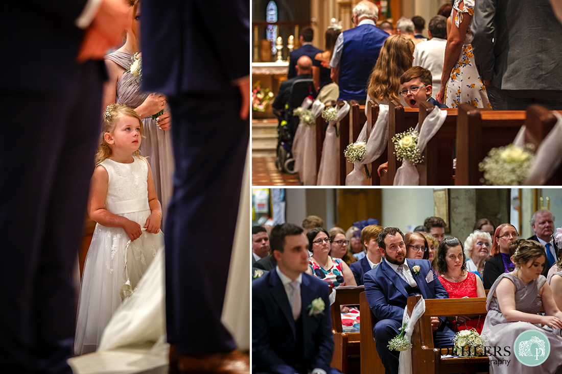 Collage of the congregation showing the flower girl and guests.
