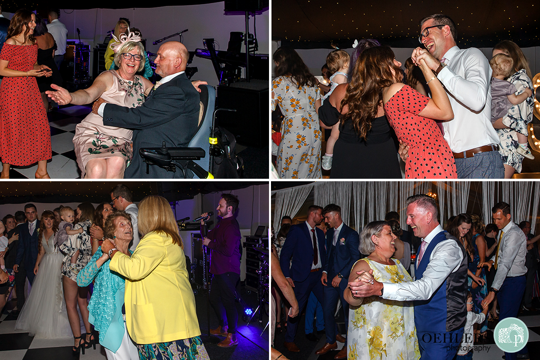 Guests having a great time dance on the dance floor at Thrumpton Hall.