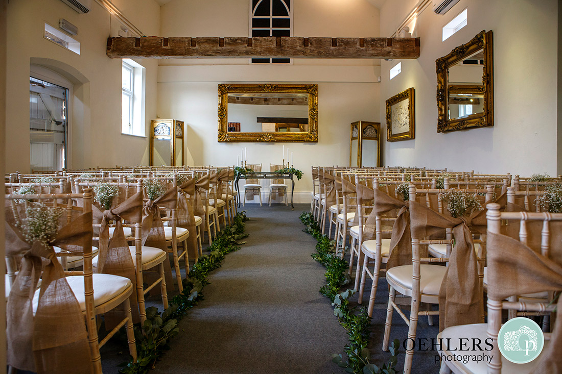 Shottle Hall Wedding Photography - Ceremony Room in the marquee of Shottle Hall.