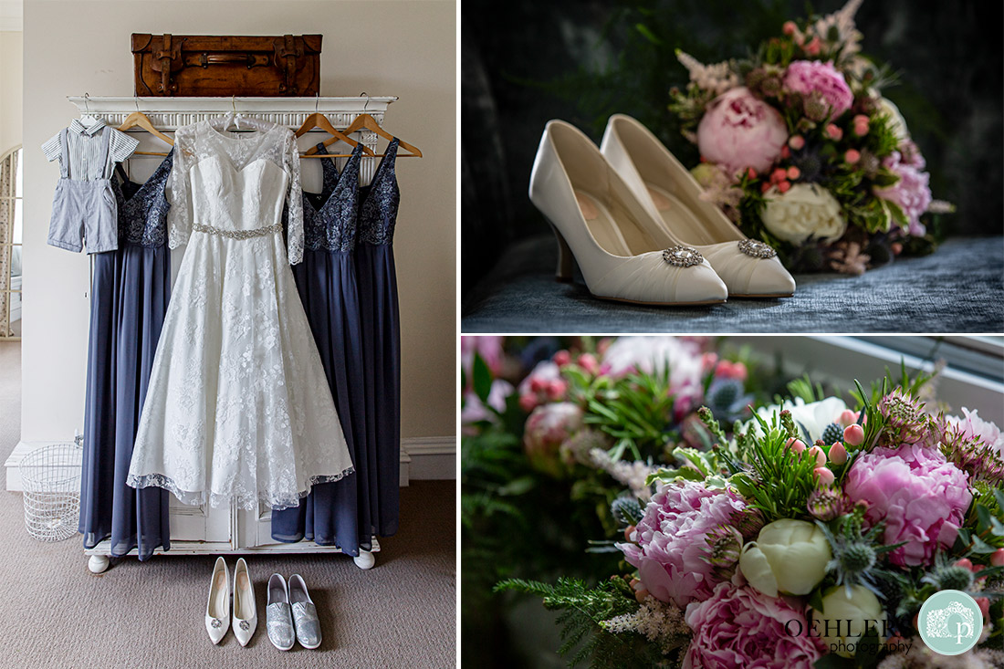 Collage of the wedding dress, bridesmaids dresses, shoes and flowers