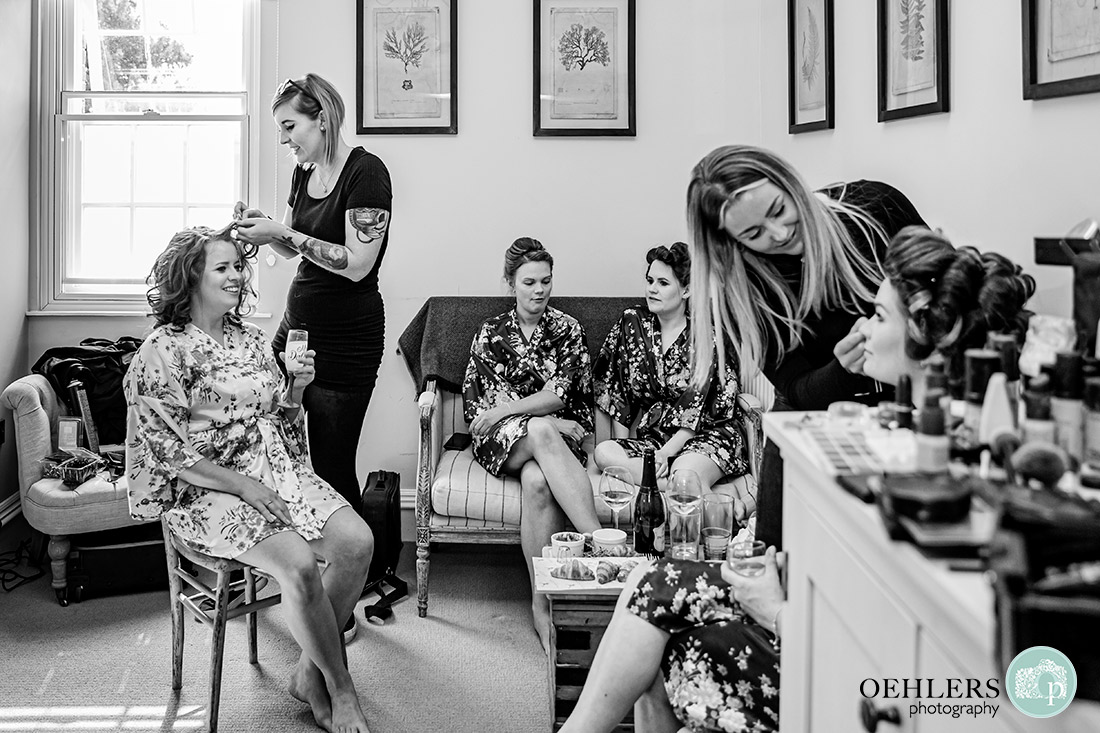 Kedleston Country House Photographers -bridal party enjoying being pampered.