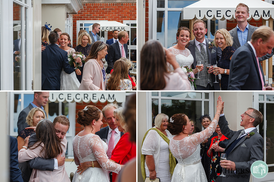 Kedleston Country House Photographers - mixture of bride and groom celebrating their marriage with friends.