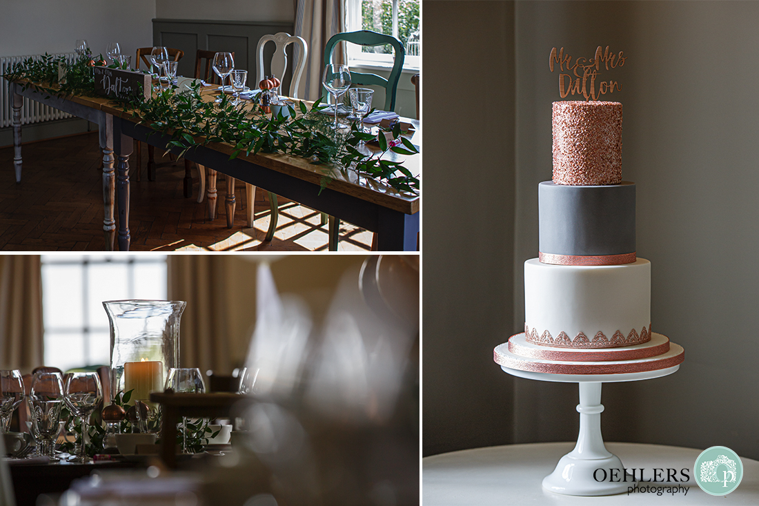 Details of the wedding breakfast room and cake.