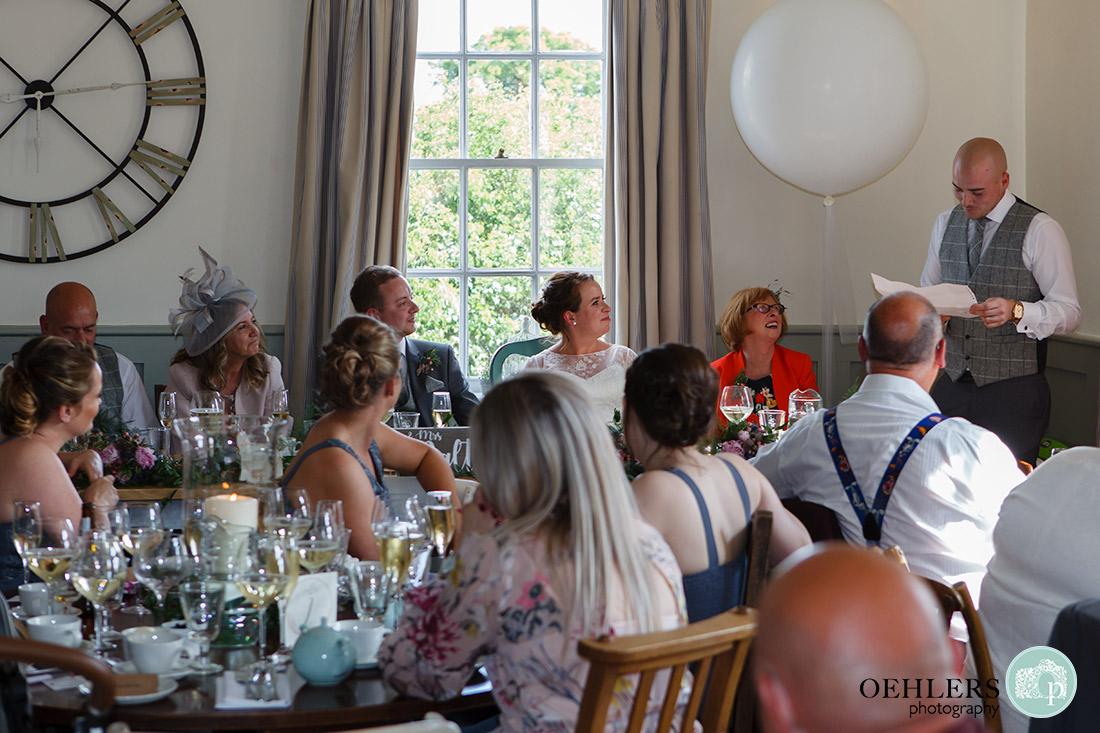 Kedleston Country House Photographers - bestman making a speech.