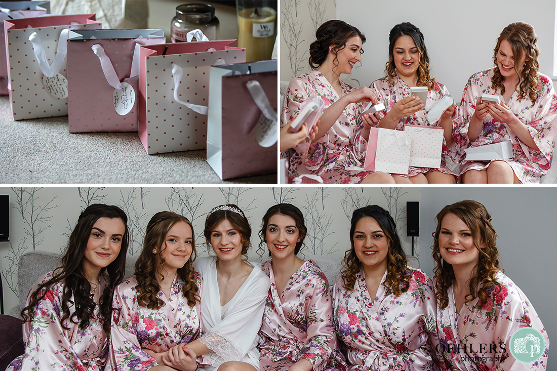 Collection of images of the bride and bridesmaids with their gifts and a posed photograph.