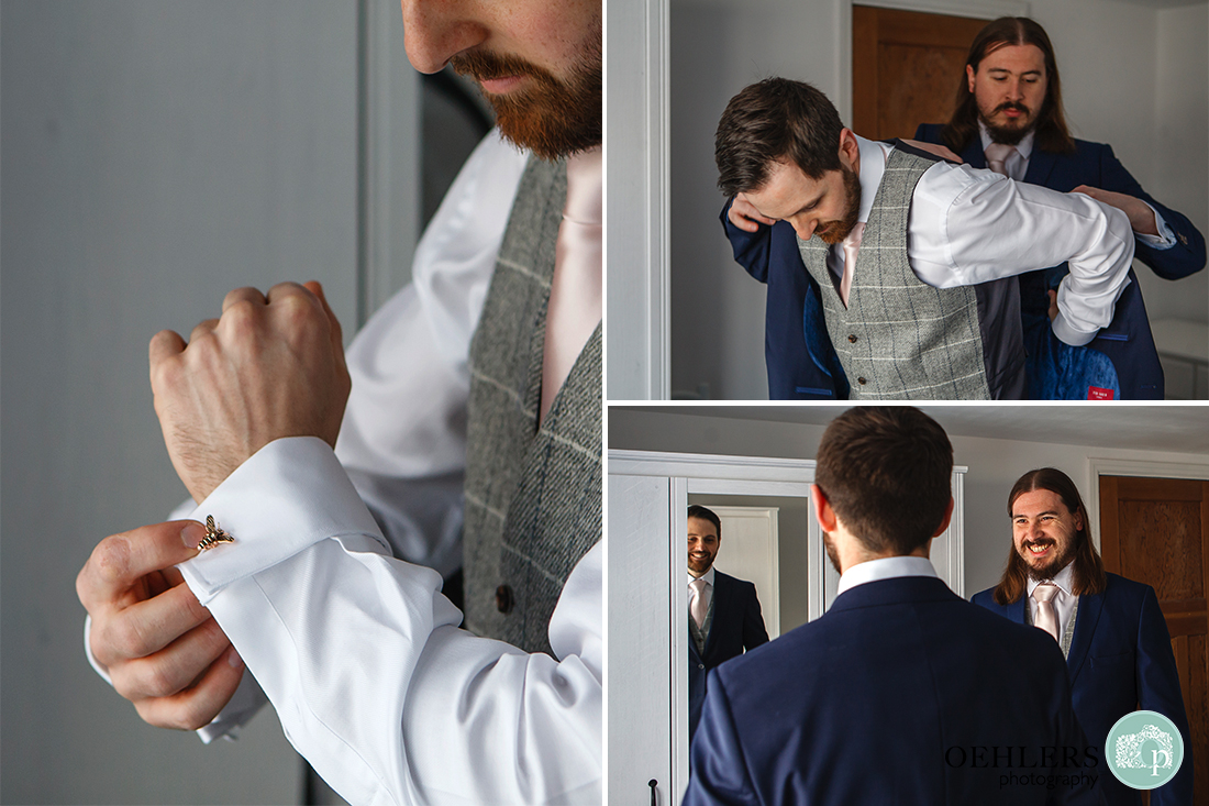 Pictures of the Groom getting ready with his bestman.