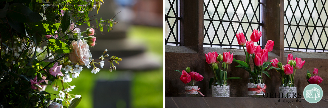 Tulips on the window in the church and rose adorning the arched doorway of the church.