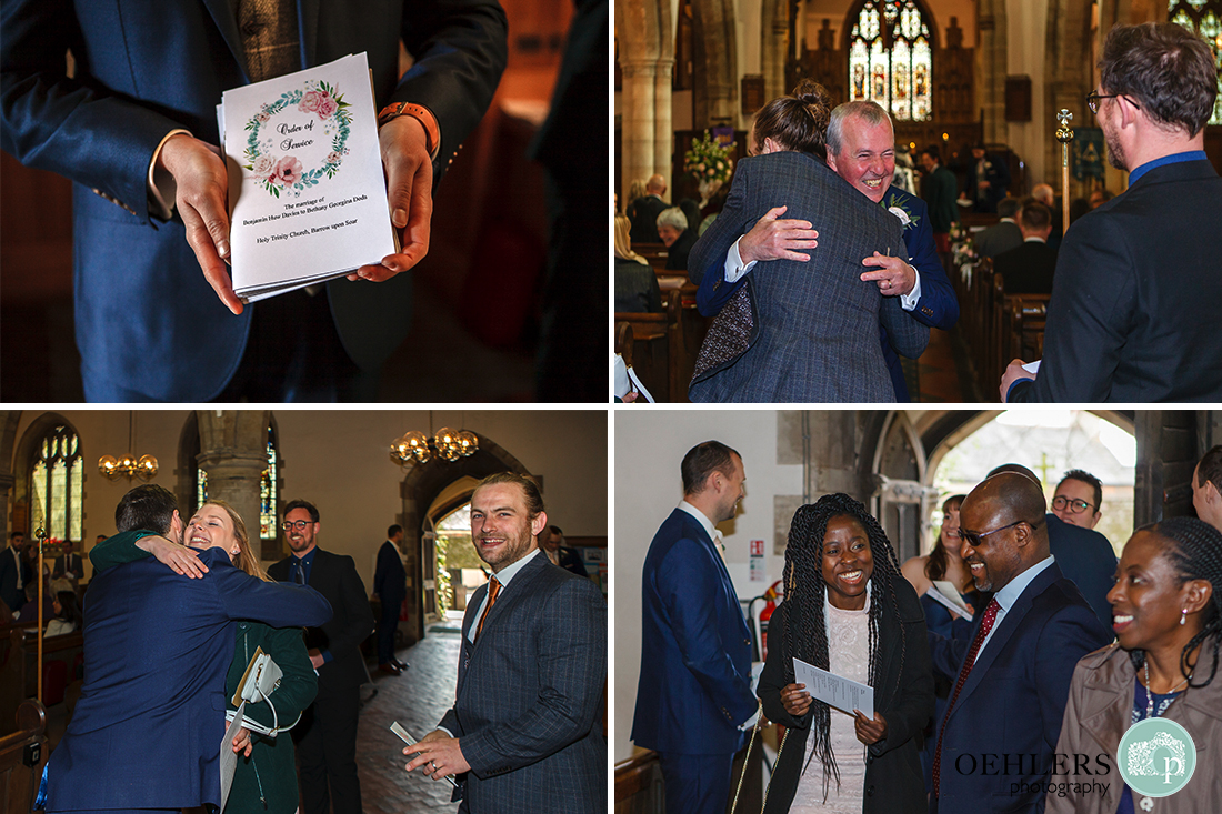 Several photographs showing the guests arriving before the ceremony plus a photo of the Order of Service.