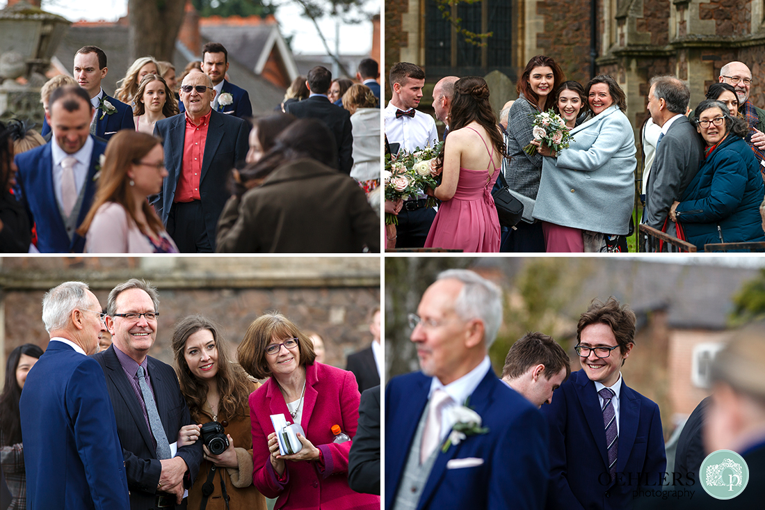 A mixture of four photographs of the guests waiting to talk to the bride and groom.