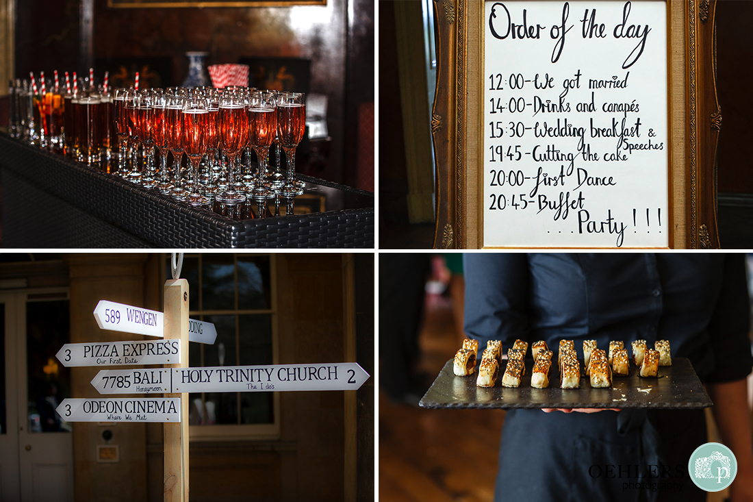 Four images showing the welcome drinks, order of the day, sign post and canapés at Prestwold Hall.