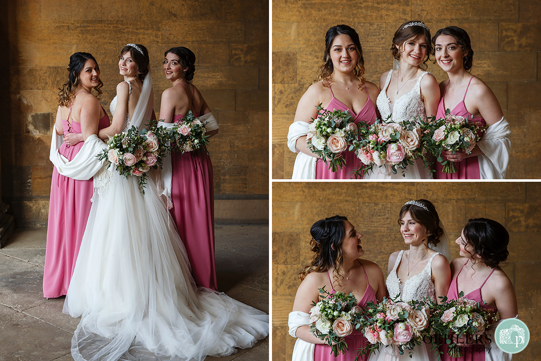 Bride with her two Maids of Honour posing informally in the entrance to the prestigious Prestwold Hall.