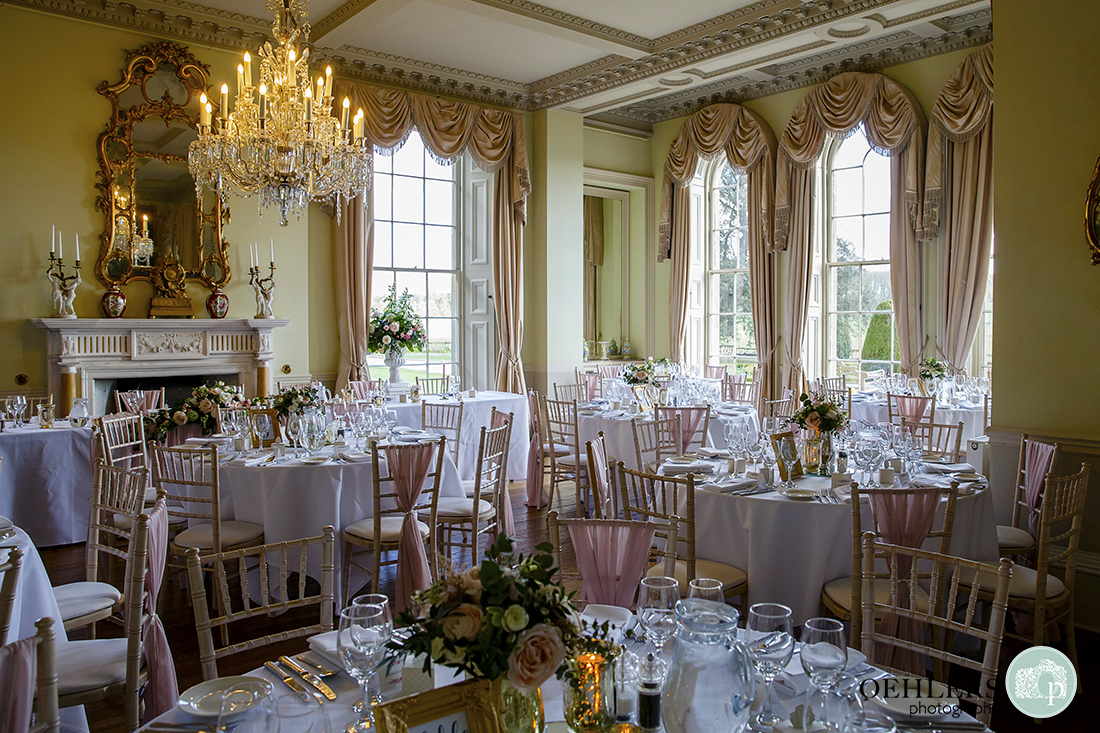 The beautifully decorated wedding breakfast room at Prestwold Hall.