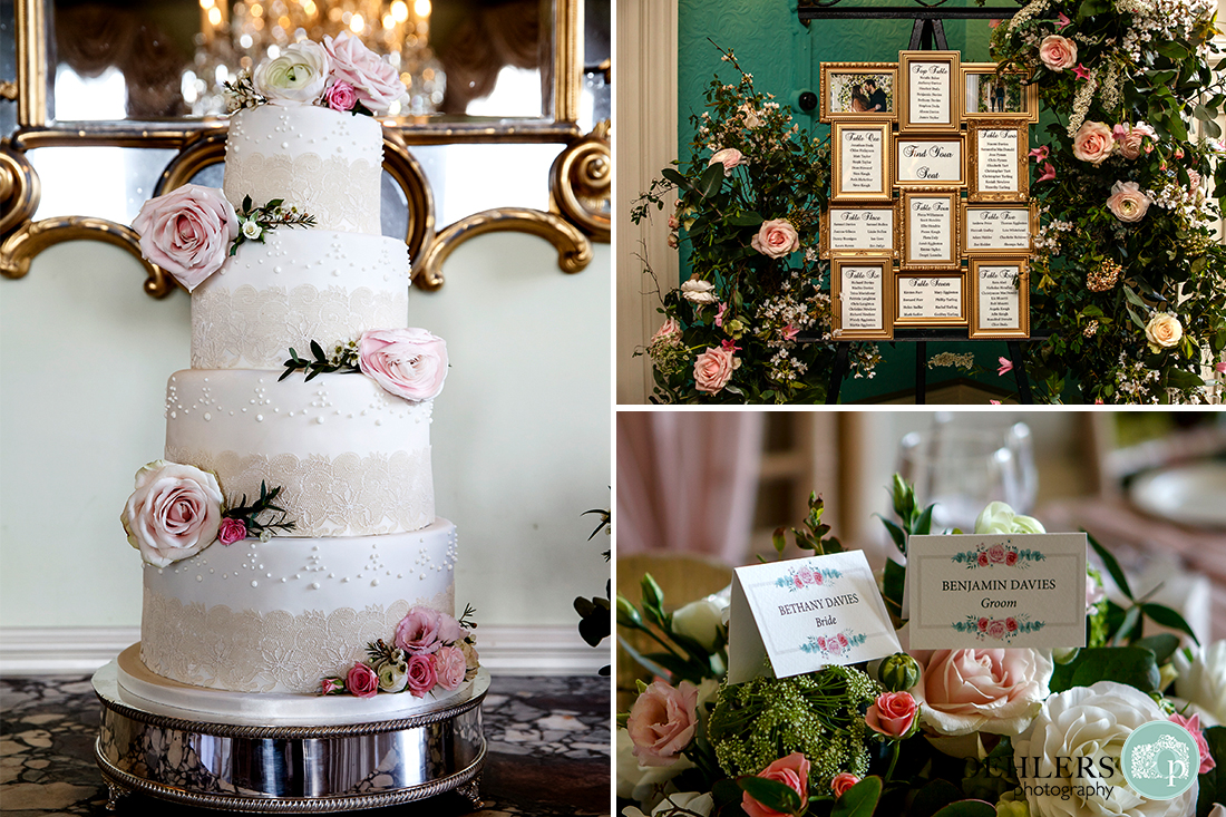 Images of the wedding cake, seating plan and the name cards.