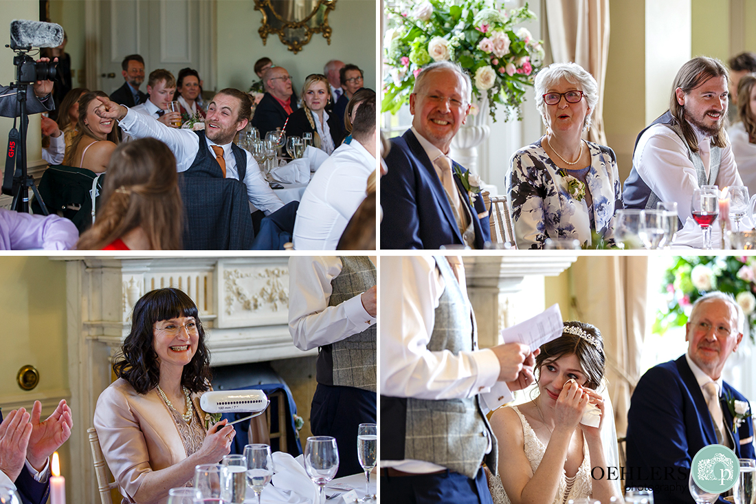 Images of the guests responding to the speeches.