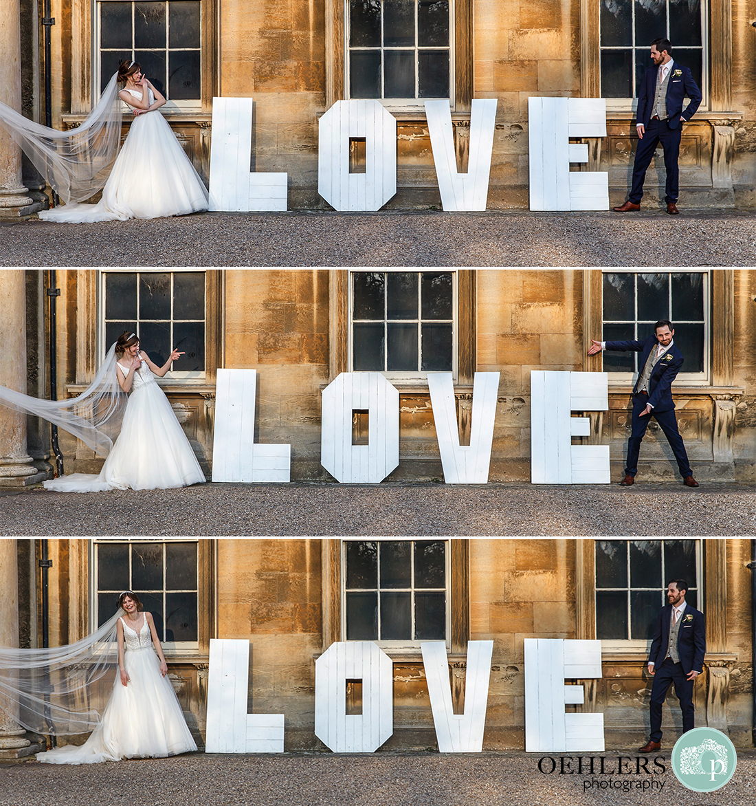 Bride and Groom showing different poses on either side of the Love sign.