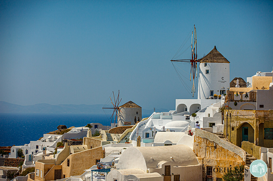 Santorini Wedding Photographers - the windmills of Oia on the Greek Island of Santorini.