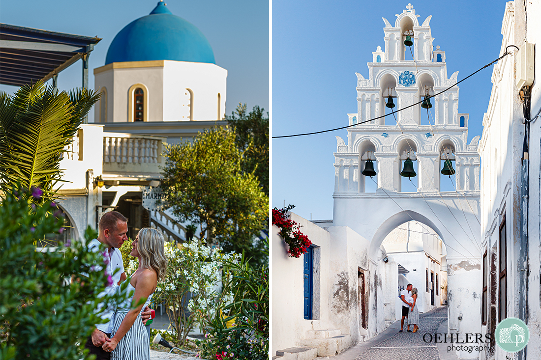 Two romantic photographs of the couple with iconis Santorini blue domed church and bell tower in Megalochori Village.