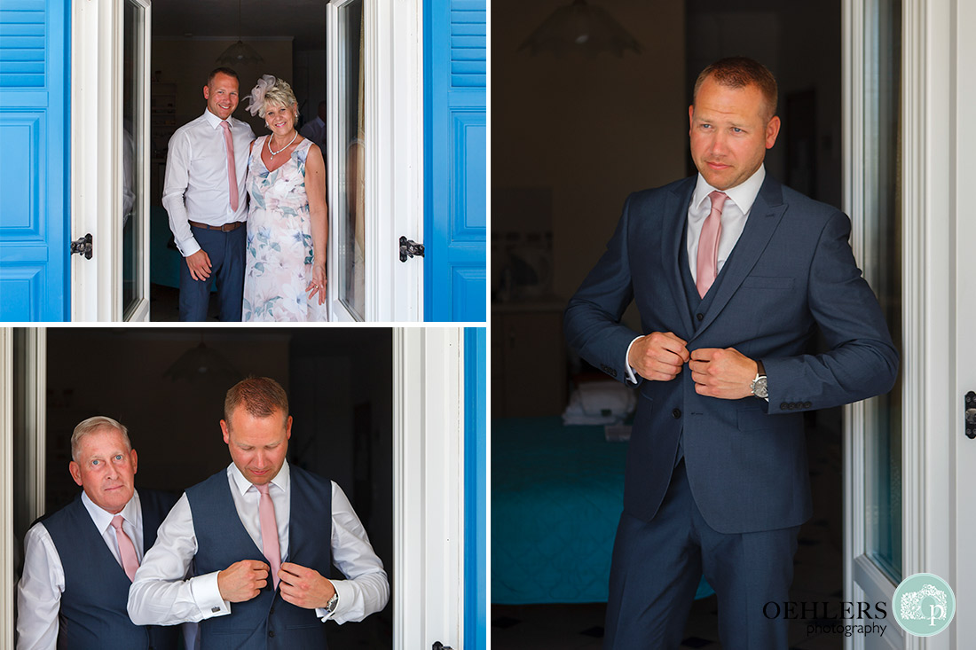Three photographs of the groom getting ready with his parents.