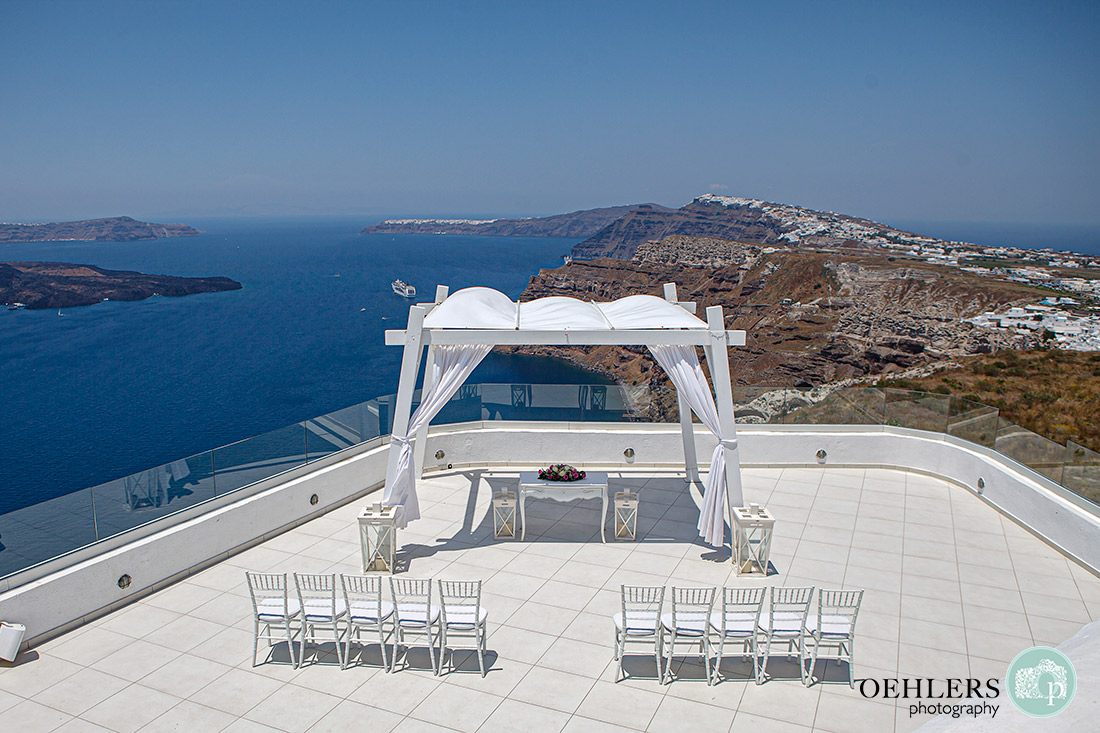 Destination Wedding Photographers - Ceremony area at Santos Winery, Santorini.