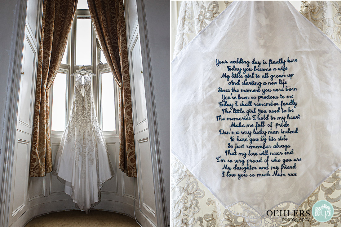 Stoke Rochford Wedding Photographer-Hanging wedding dress and handkerchief embroidered by the bride's mum.