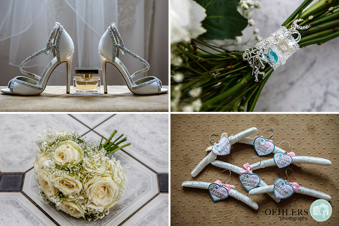 Stoke Rochford wedding Photography-Details of the shoes, perfume, flowers, hangers and charms.