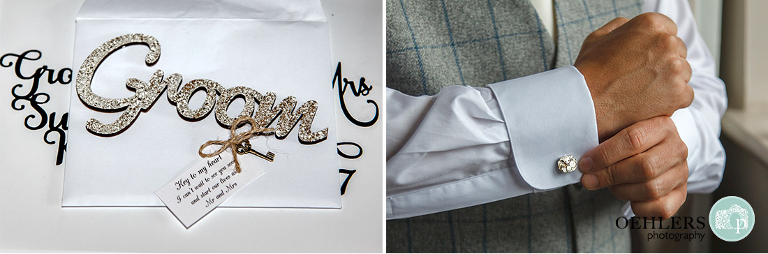 Nottingham wedding photographer - Details of Groom's cufflink and a key to my heart.