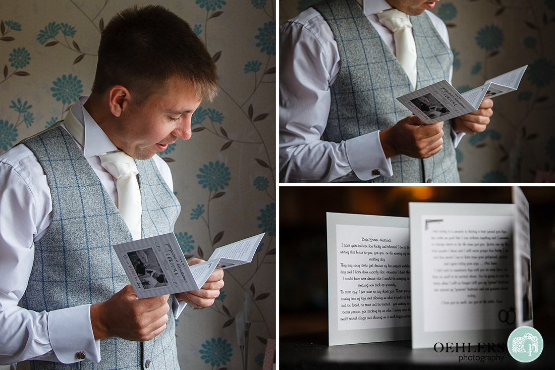Groom reading a card which his bride has written.