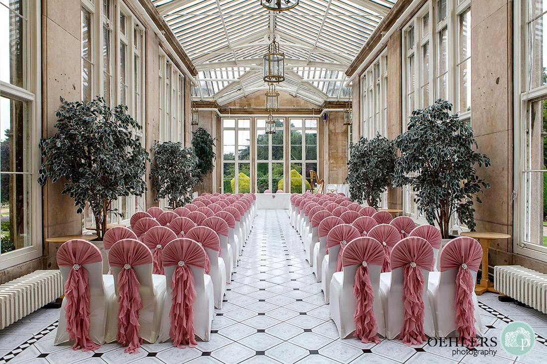 Stoke Rochford Wedding Photographer-The Orangery at Stoke Rochford ready for the wedding ceremony.