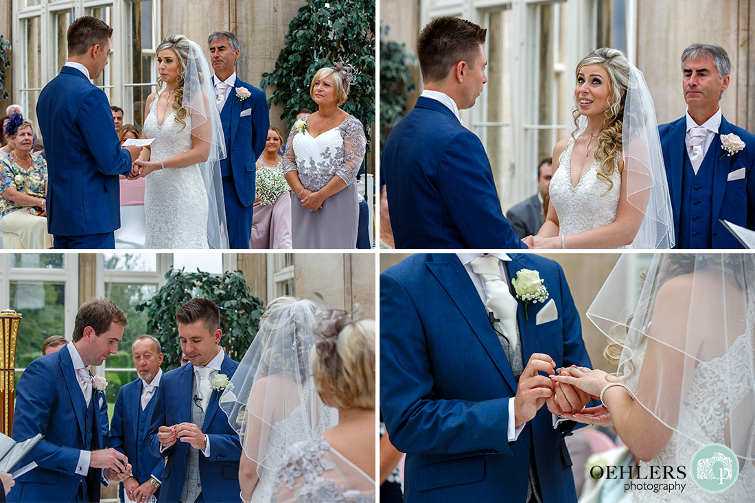 Several photographs of the exchanging of the rings.