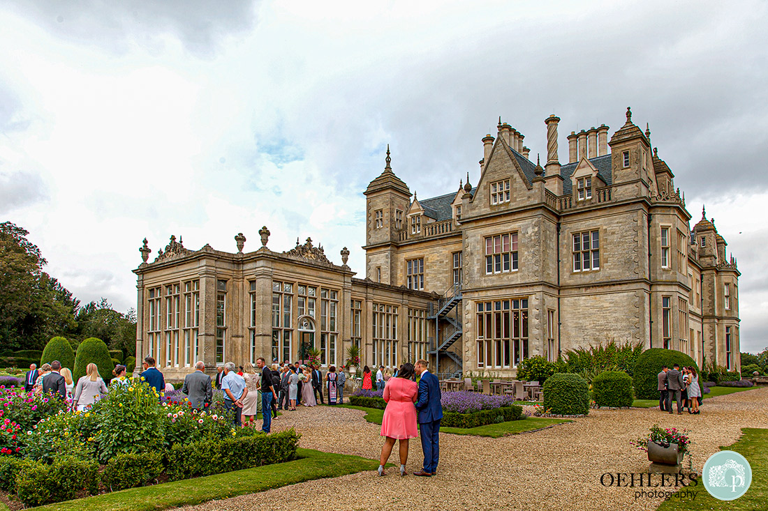 Stoke Rochford Photographer-Guests in the gardens of Stoke Rochford Hall.