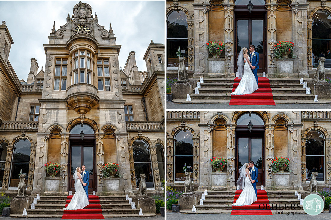 Stoke Rochford Photographer-Bride and Groom on the steps in front of the venue.