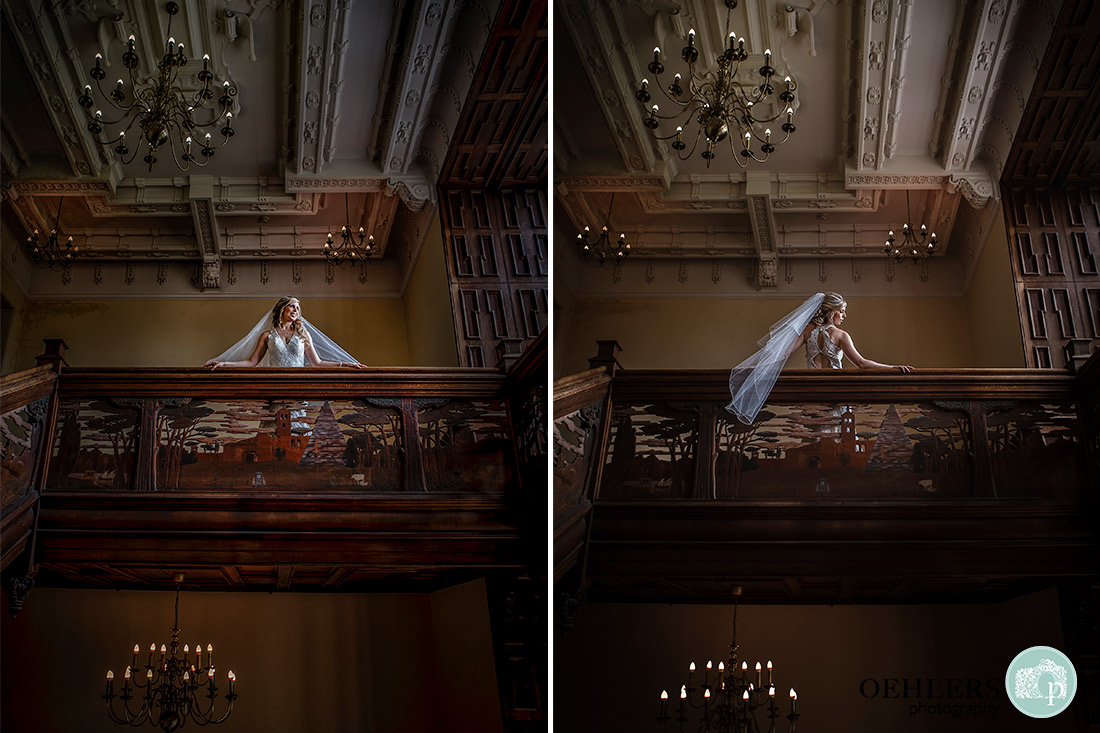 Stoke Rochford Wedding Photographer-Beautiful bride at the top of the staircase.