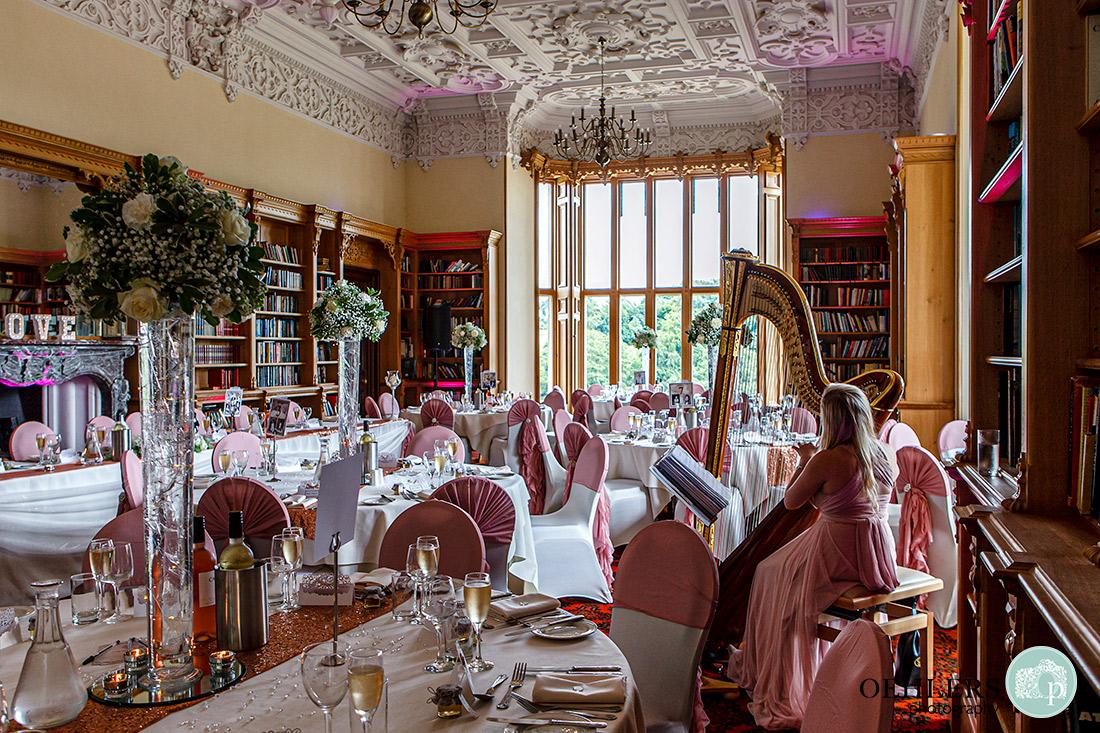 The wedding breakfast room in all of its splendour.