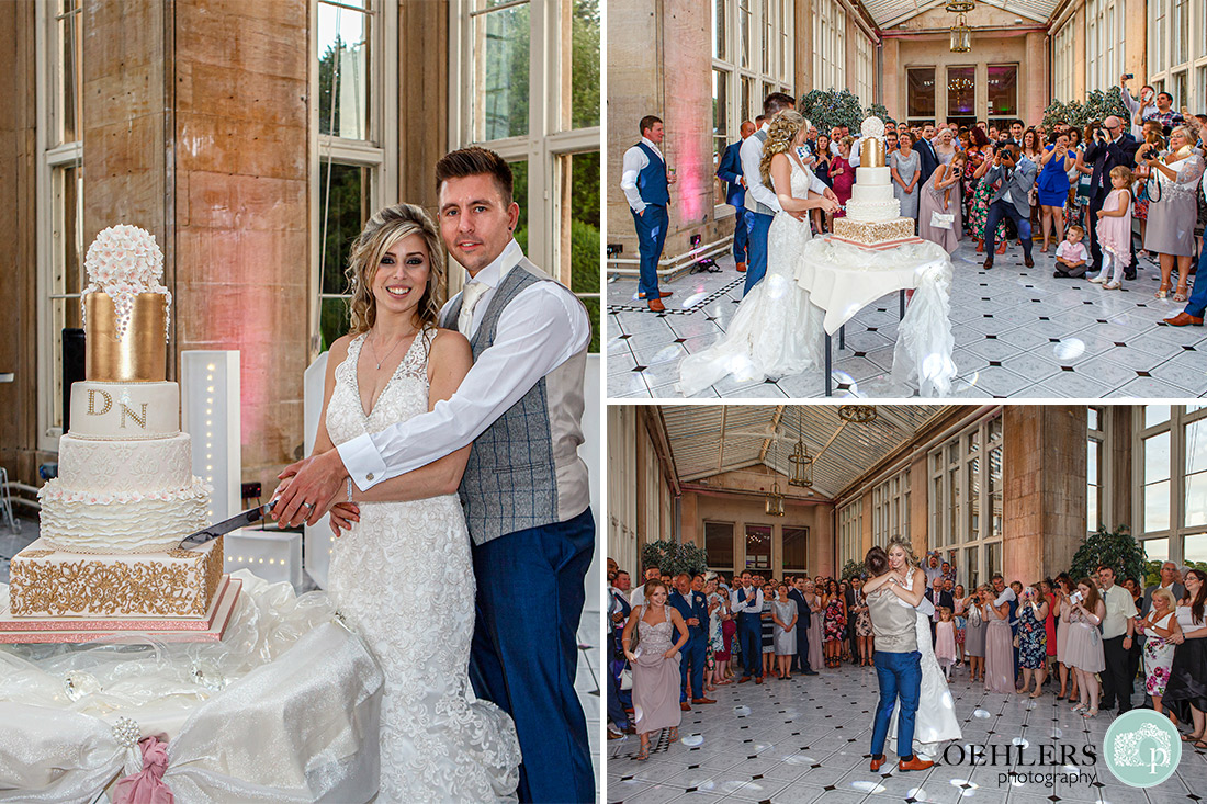 Stoke Rochford Wedding Photographer-Cutting the cake and first dance.