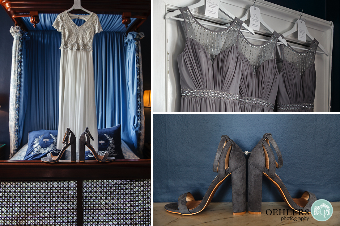 Image showing off the wedding and bridesmaids dresses and shoes with engagment ring.