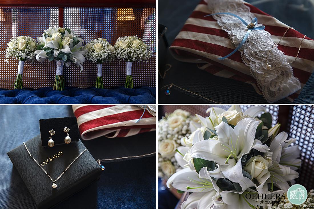 Wedding bouquets, garter and jewellery