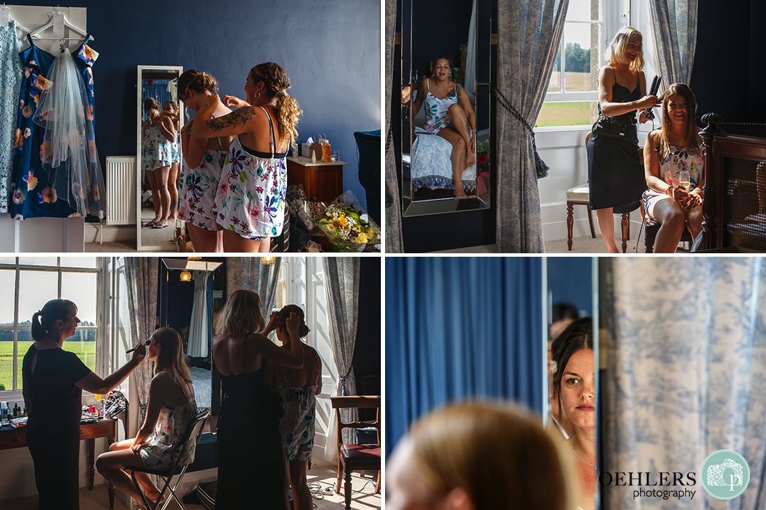 Images of the preparations in the blue room.