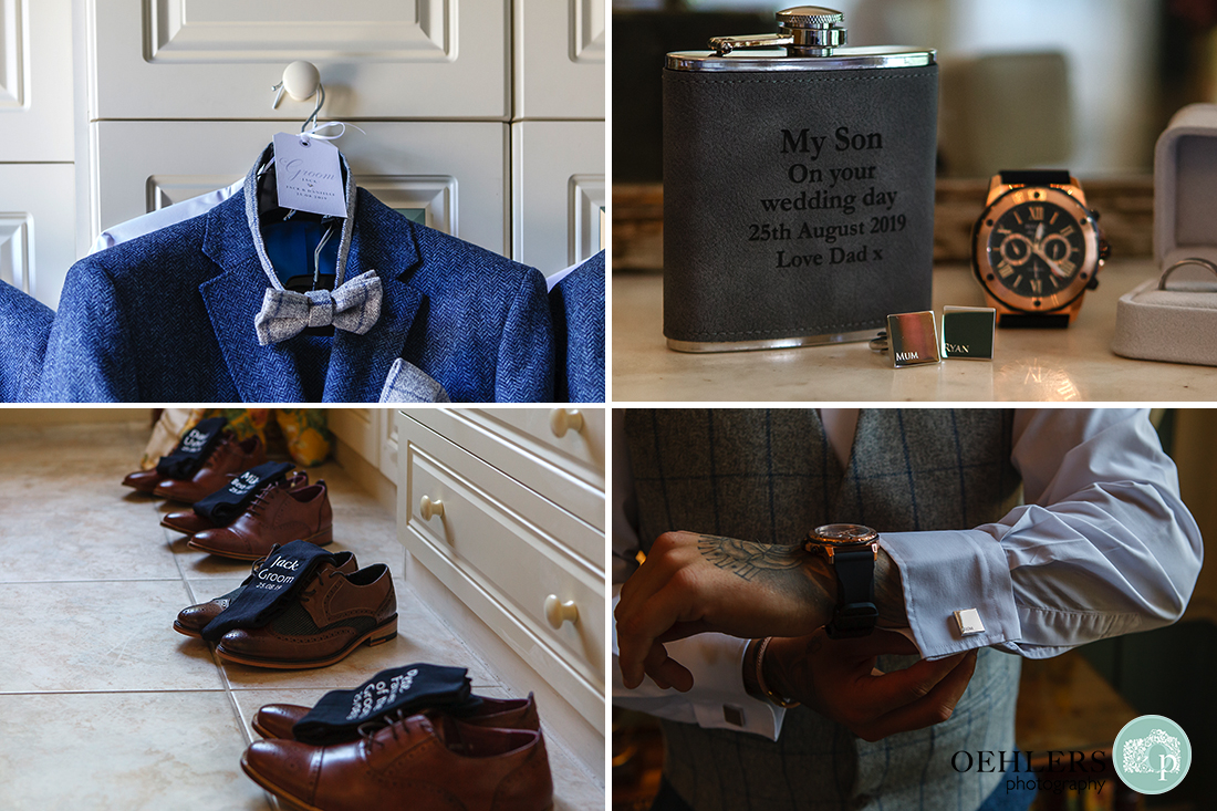 Prestwold Hall wedding photographer - Groom's accessories such as bow tie, cufflinks, gift from dad, watch, shoes and titled socks.