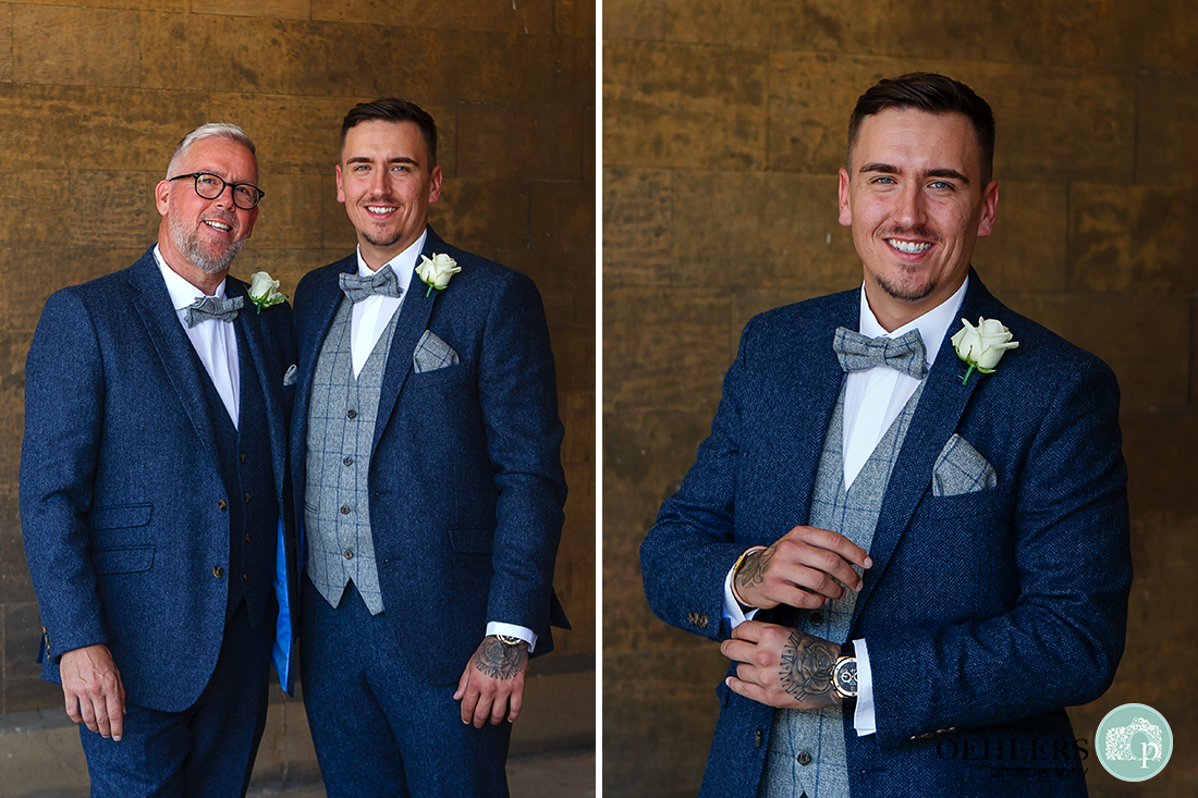 Groom with his father and by himself.