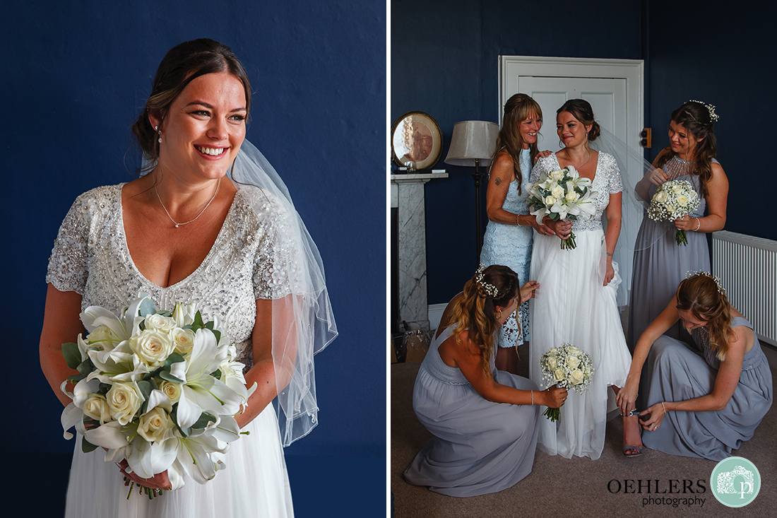 Happy portrait of the bride and an image of bridesmaids helping bride with the dress.