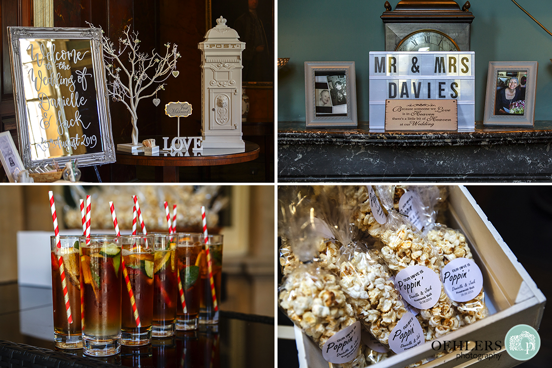 Details from the wedding day includes Pimms and branded popcorn.