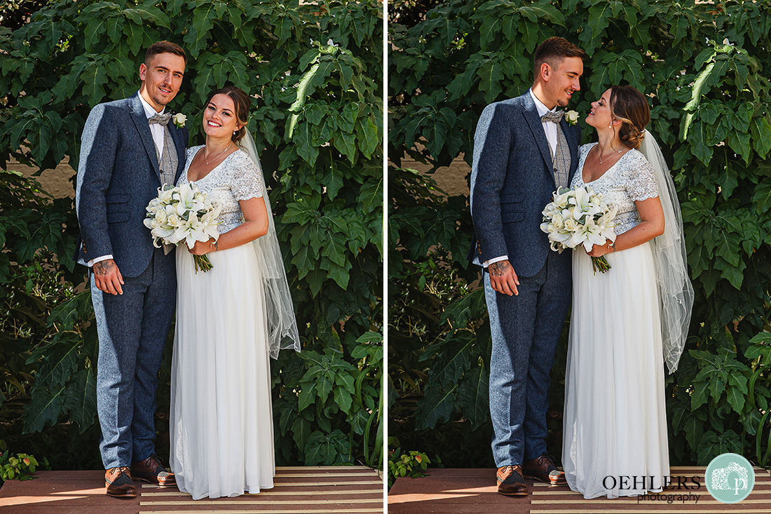 Prestwold Hall Wedding Photographs - Standing portrait of Bride and Groom