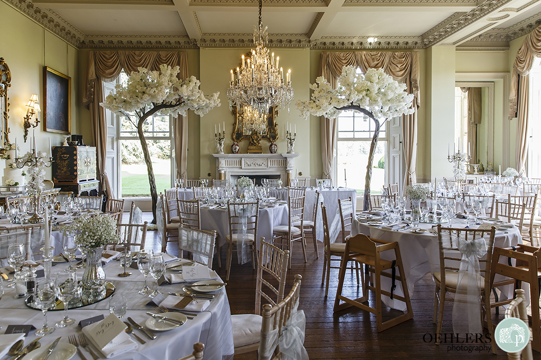 Prestwold Hall Wedding Photographs - Beautiful decor in the wedding breakfast room with big, artificial trees.