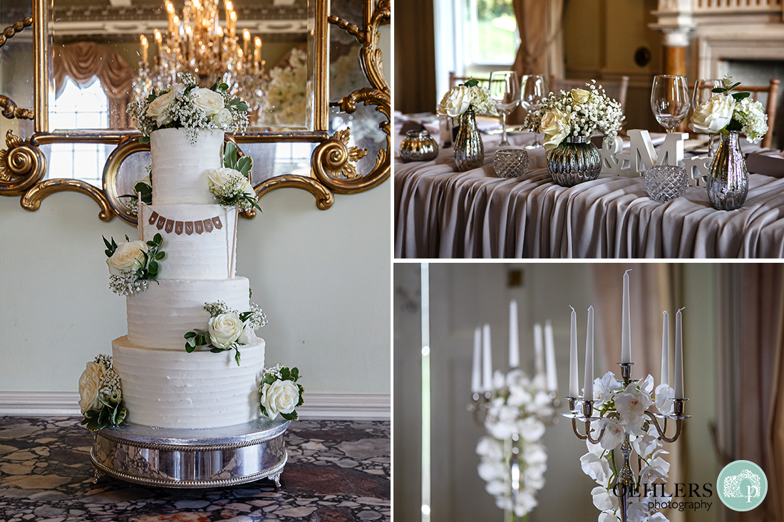 Prestwold Hall Wedding Photographs - Image of the wedding cake and some of the details in the wedding breakfast room.