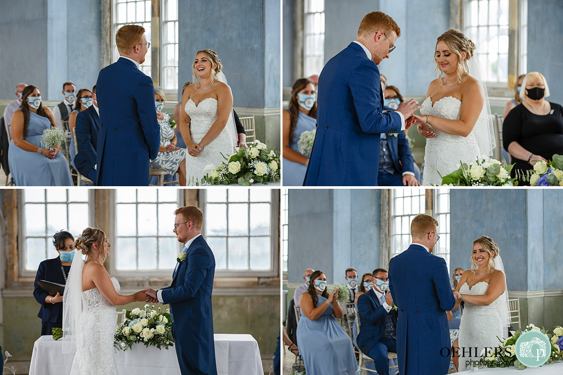a variety of images showing the vows and enchanging of rings