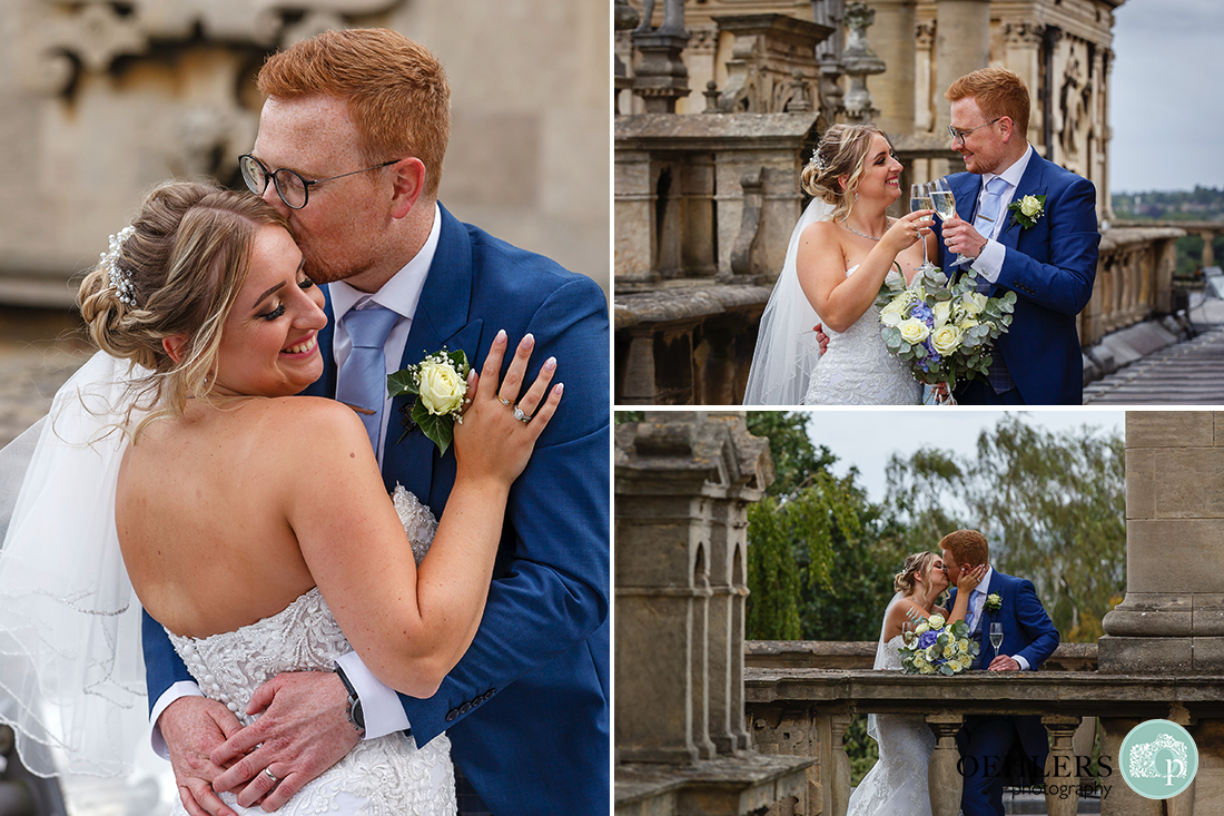 wollaton hall wedding photography of bride and groom toasting their marriage