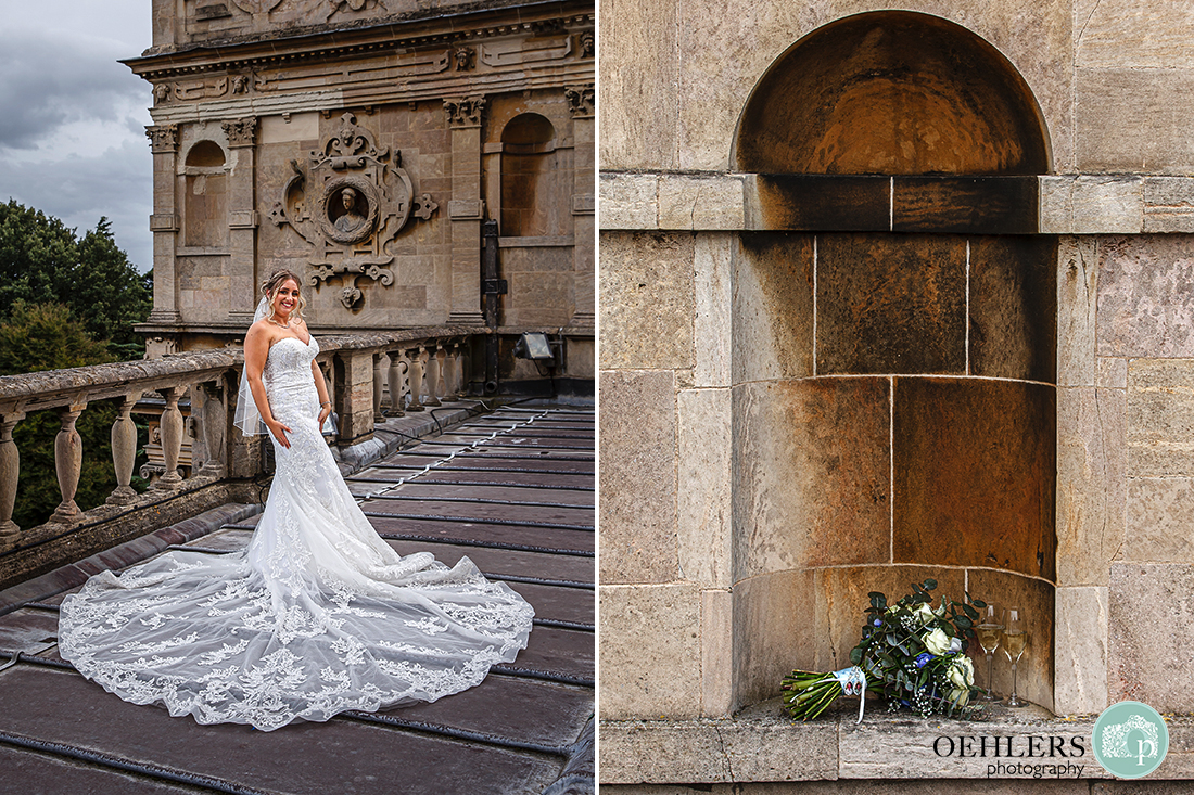 bride posing and wedding bouquet in an archway